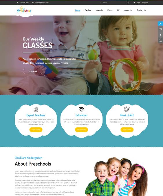 sj preschool kids joomla templates
