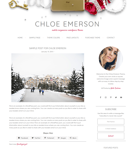 chloe feminine wordpress themes