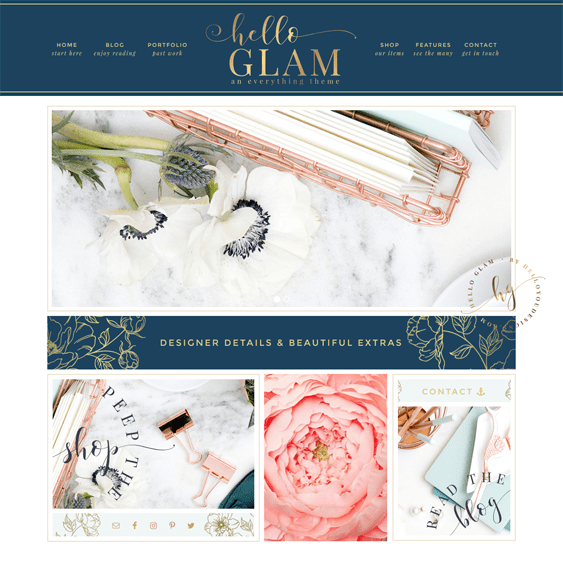 hello glam feminine wordpress themes