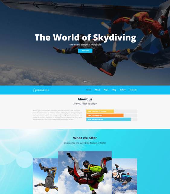 skydiving sports joomla templates