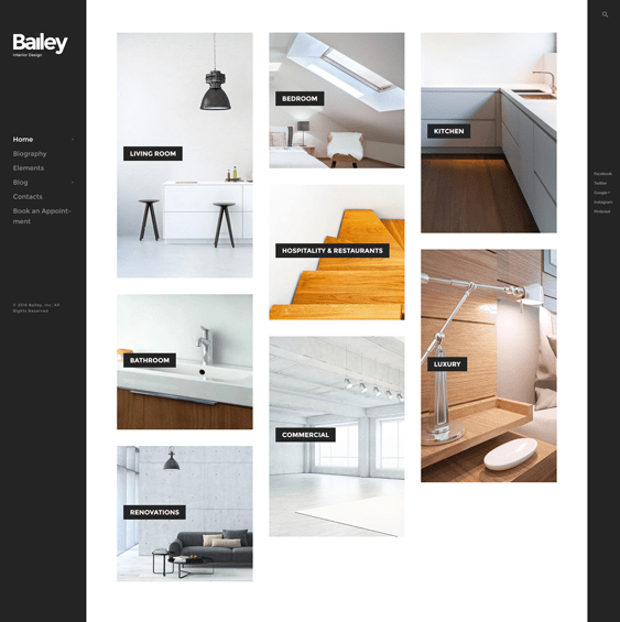bailey interior design wordpress themes