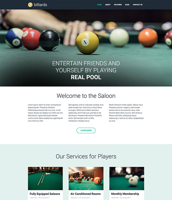 billiards sports joomla templates