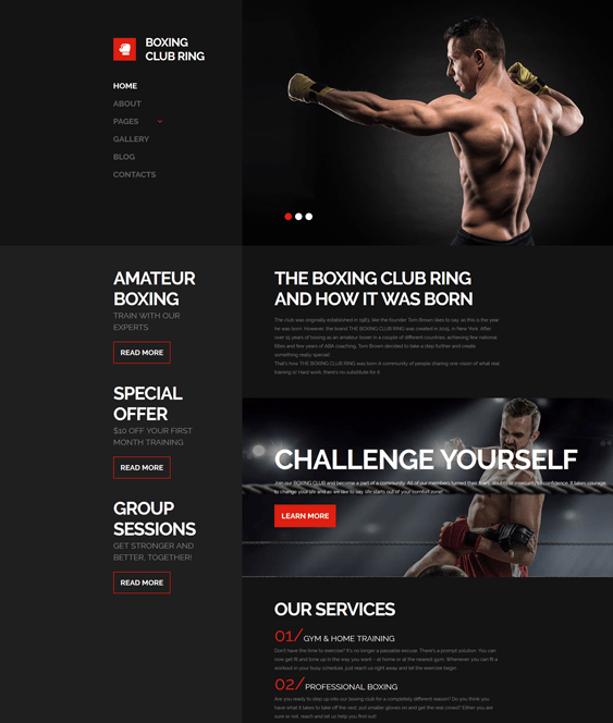boxing sports joomla templates