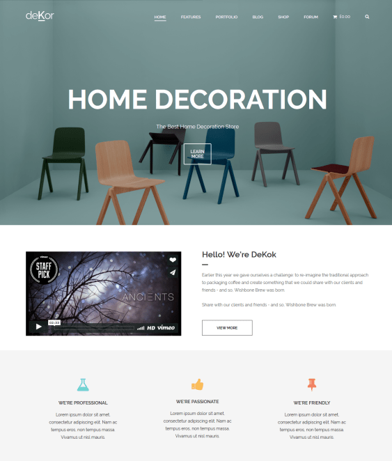 dekor interior design wordpress themes