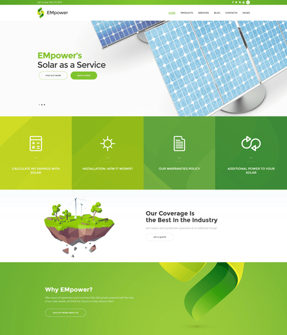 empower solar energy wind alternative power wordpress themes