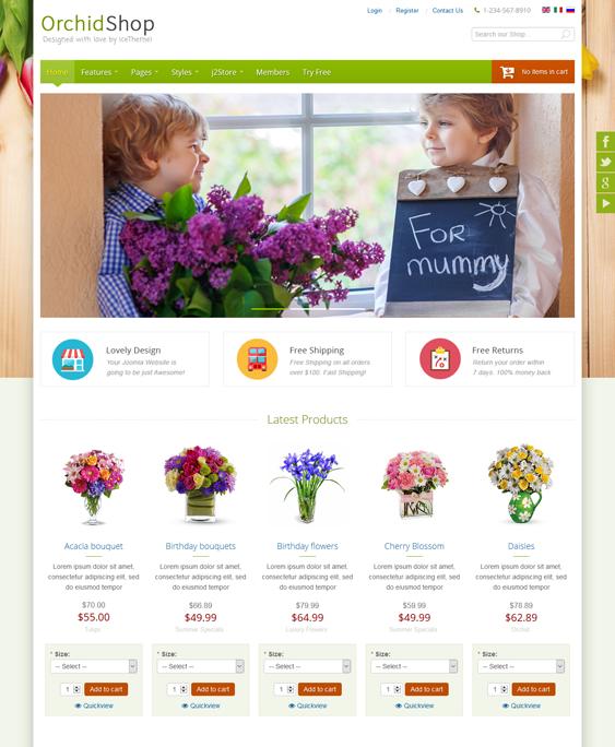 it orchidshop flower shop florist joomla template
