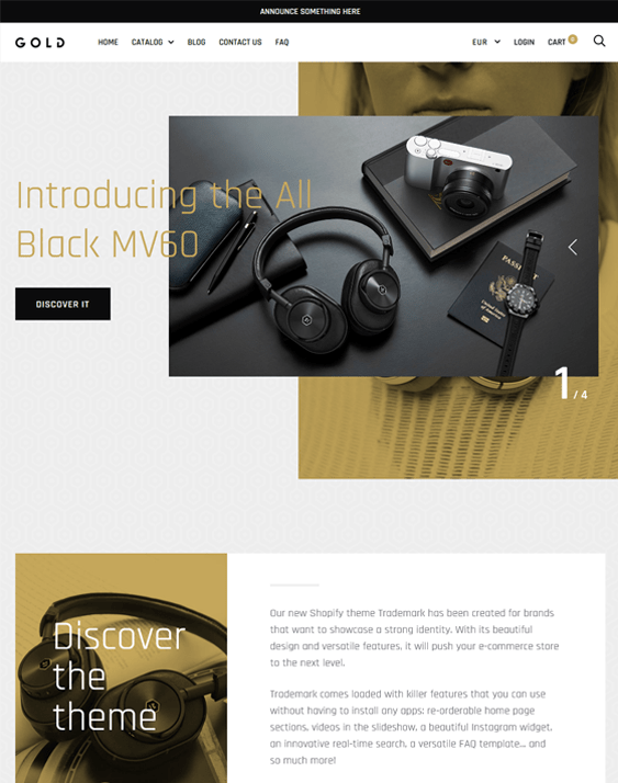 trademark gold electronics shopify themes