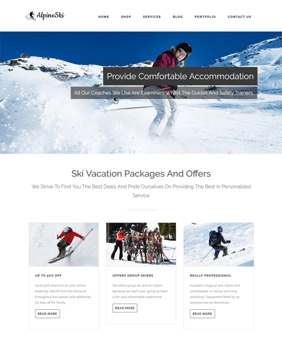 alpineski sports wordpress themes