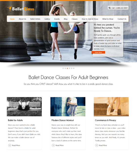 balletclass WordPress theme for dance schools, classes, and studios