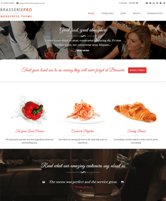 brasserie restaurant wordpress themes