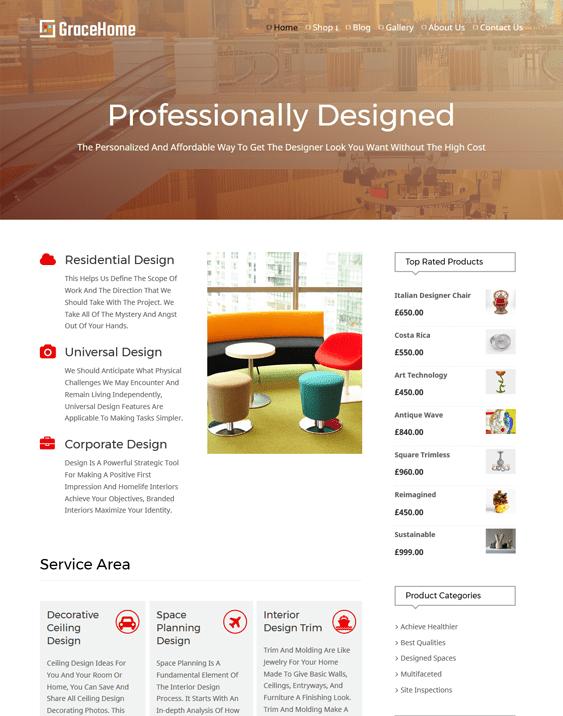 grace interior design home decor wordpress themes