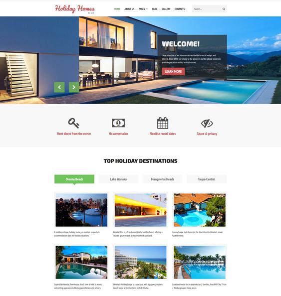 holiday homes real estate joomla templates