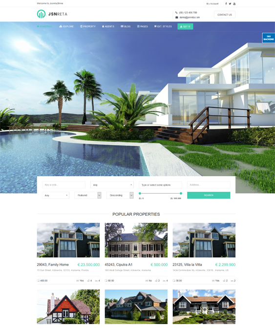 jsn reta real estate joomla templates