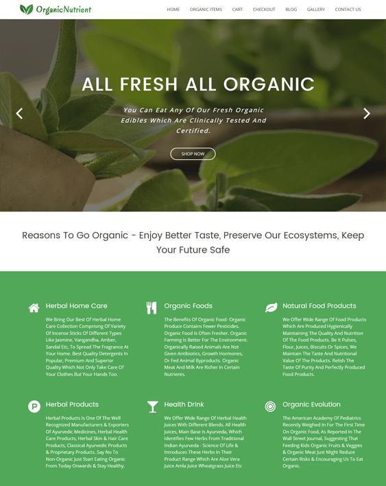green eco-friendly organic wordpress themes