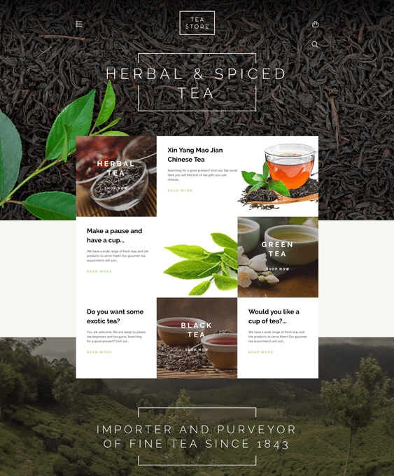 tea coffee stores shopify themes