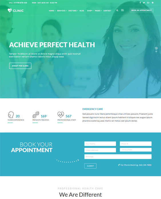 clinic medical wordpress themes