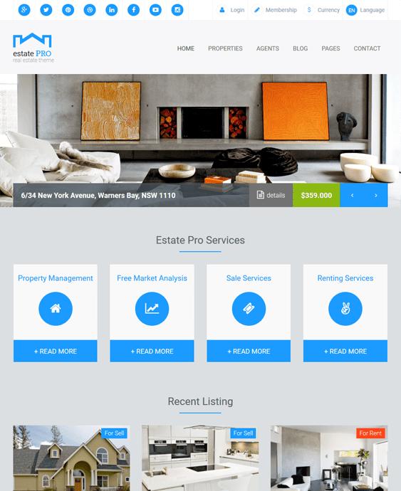 estate real estate wordpress themes