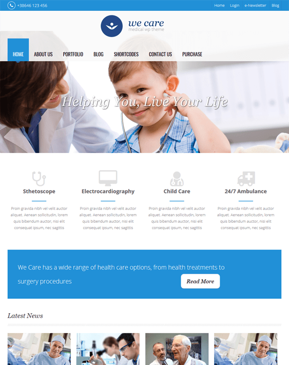 we care medical wordpress themes