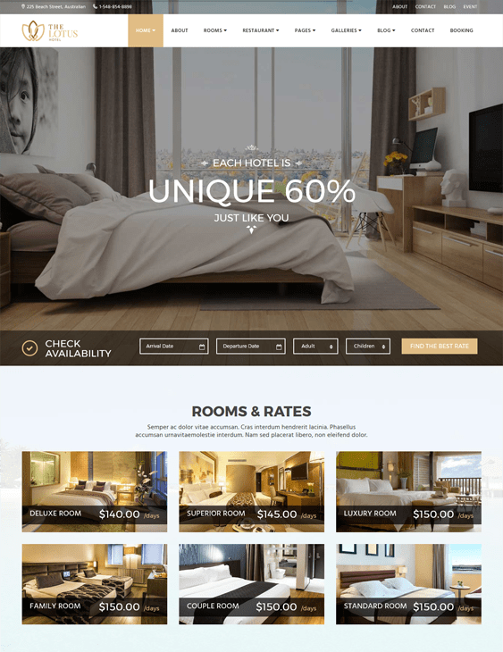 lotus hotel wordpress themes