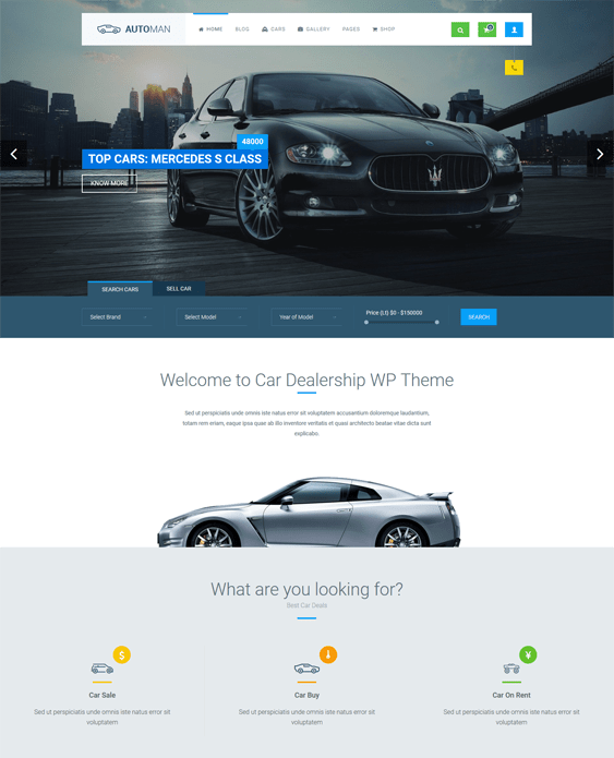 automan car, vehicle, and automotive WordPress theme