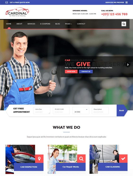 cardinal car, vehicle, and automotive WordPress theme