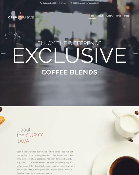 cup of java restaurant wordpress themes