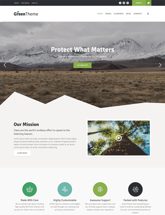 green charity nonprofit wordpress themes