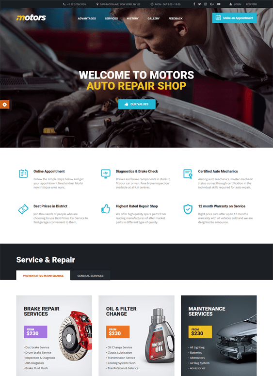 motors car, vehicle, and automotive WordPress theme