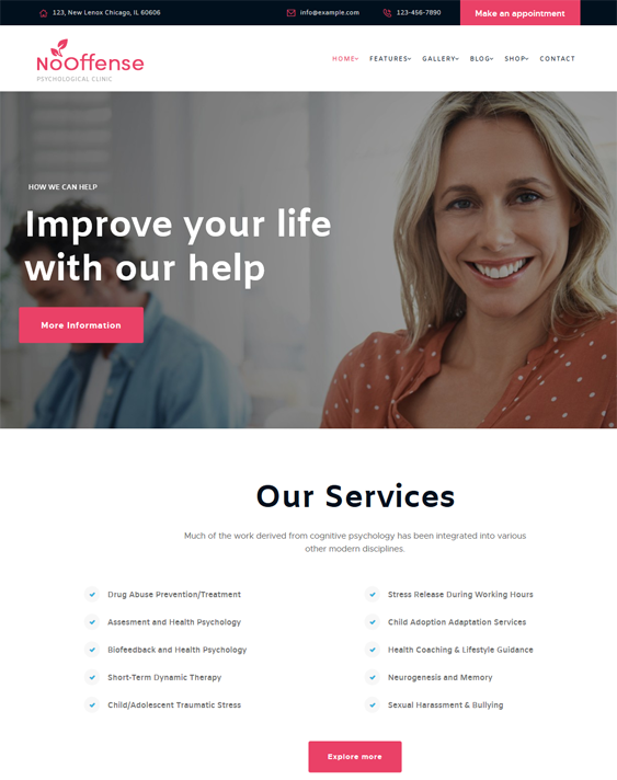 nooffense medical wordpress themes doctors clinics feature