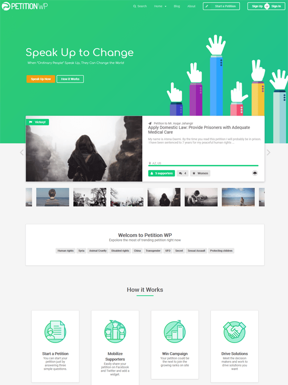 petition charity nonprofit wordpress themes