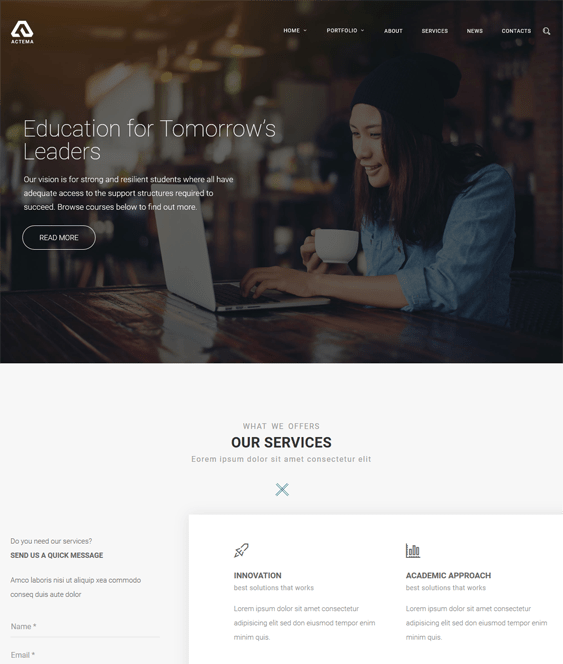 actema education wordpress themes