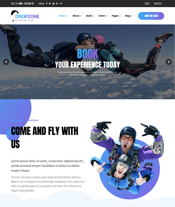 dropzone sports wordpress themes
