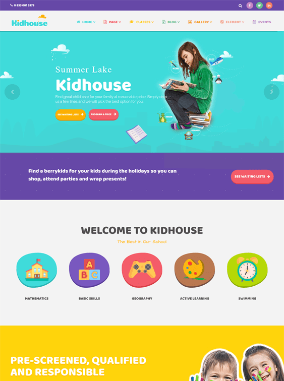 kidhouse education wordpress themes