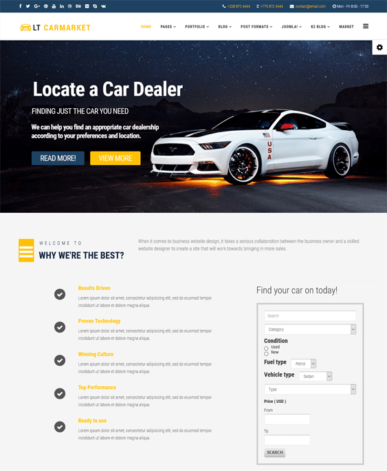 lt carmarket car vehicle automotive joomla templates