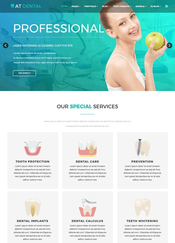 at dental medical Joomla template