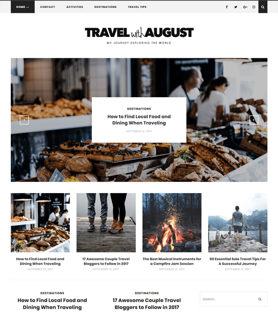august travel wordpress theme