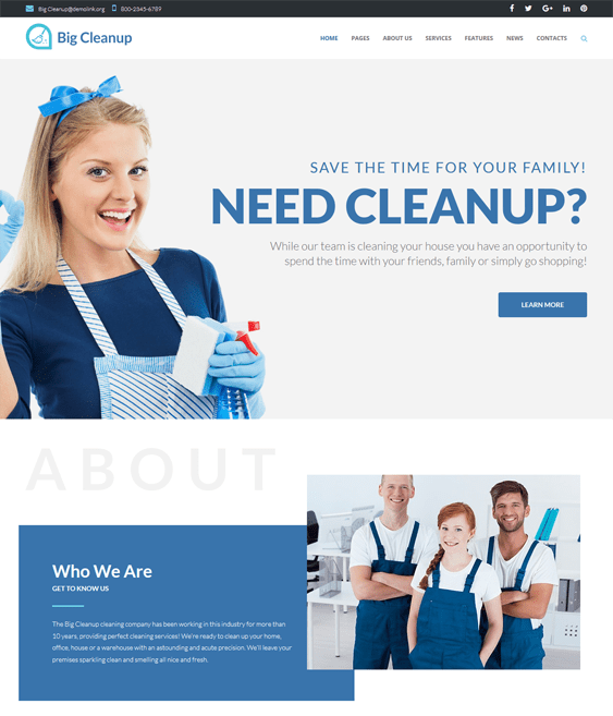 big cleanup wordpress themes maid cleaning companies