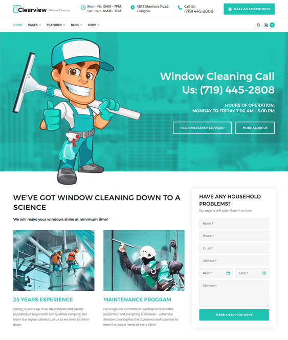 clearview wordpress themes maid cleaning companies