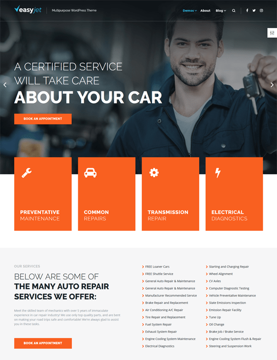 easyjet car vehicle automotive wordpress themes