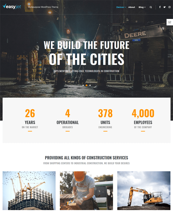 easyjet construction company building contractors wordpress themes