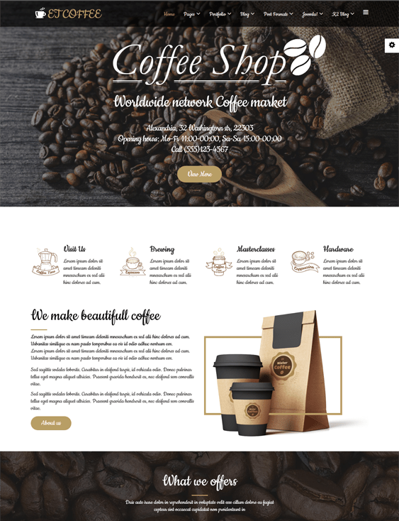et coffee restaurant joomla templates