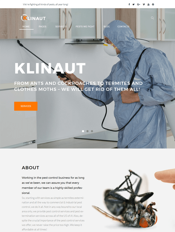 klinaut pest control wordpress themes