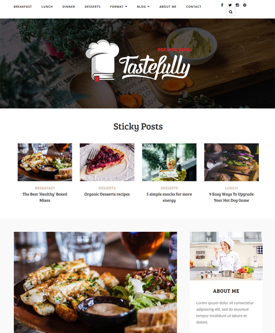 tastefully food recipe wordpress themes