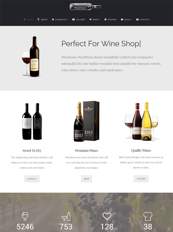 winehouse food drink wordpress themes