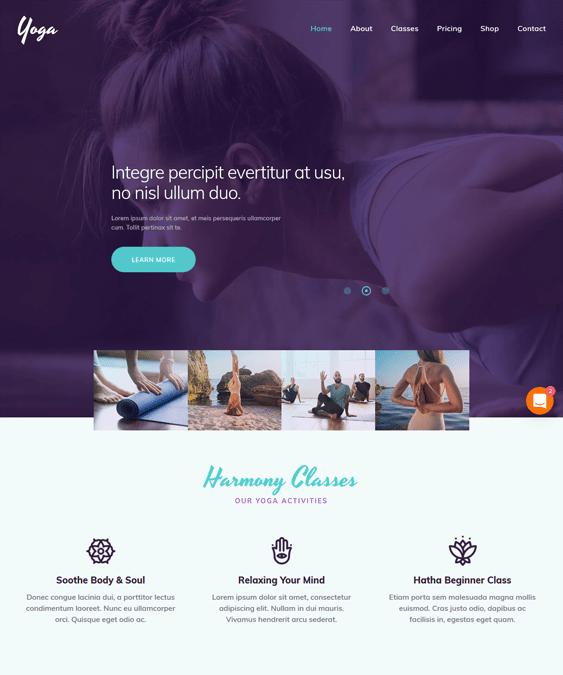 yoga studio wordpress themes