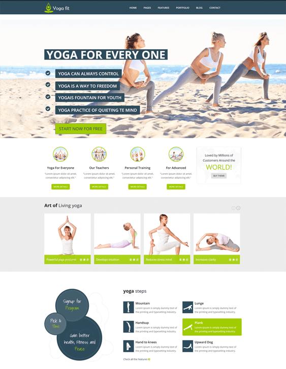 yogafit fitness wordpress themes
