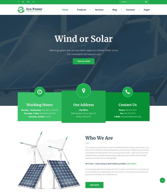 ecopower solar energy wind alternative power wordpress themes