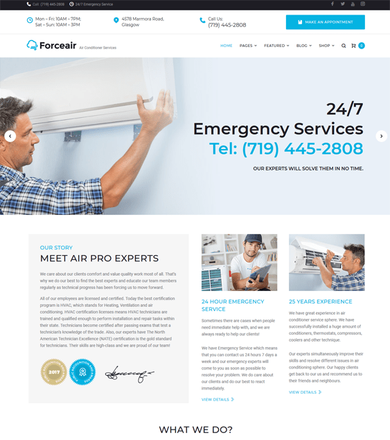 forceair construction company building contractor wordpress themes