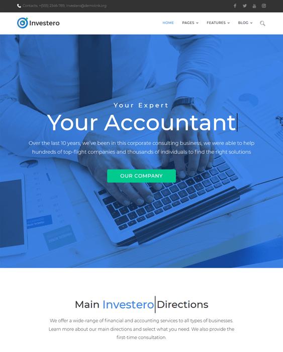 investero accounting wordpress themes