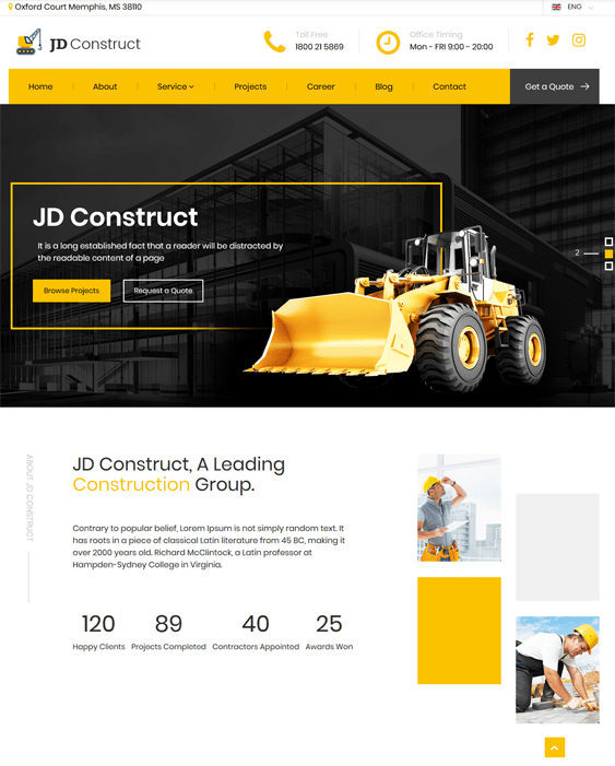 jd construct joomla templates construction companies building contractors